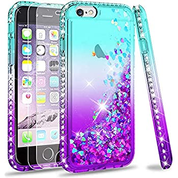 LeYi Hülle iPhone 6 / iPhone 6S Glitzer Handyhülle mit Panzerglas Schutzfolie(2 Stück),Cover Diamond Bumper Schutzhülle für Case iPhone 6 / iPhone 6S Handy Hüllen ZX Gradient Turquoise Purple