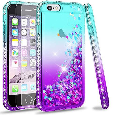 LeYi Hülle iPhone 6 / iPhone 6S Glitzer Handyhülle mit Panzerglas Schutzfolie(2 Stück),Cover Diamond Bumper Schutzhülle für Hülle iPhone 6 / iPhone 6S Handy Hüllen ZX Gradient Turquoise Purple