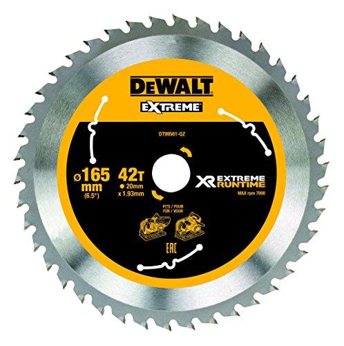 DeWalt XR Runtime circulaire Lame de Scie Extreme Batterie, 1 pièce, 165/20 mm 42 WZ/FZ, dt99561 de QZ Noir/Jaune