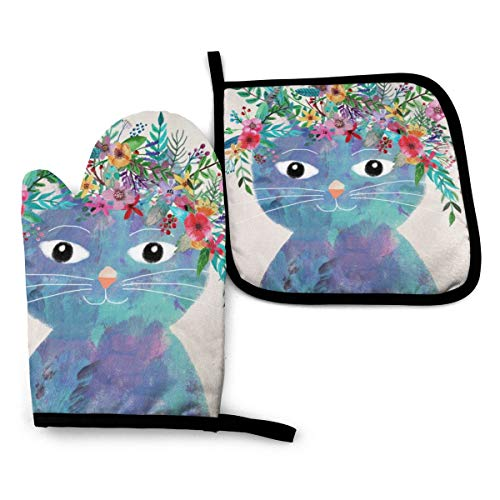 Ameiu-Design Oven Mitts and Pot Holders,Flower Cat Advanced Heat Resistant Oven Mitts,Non-Slip Textured Grip Potholders for Cooking Grilling Baking