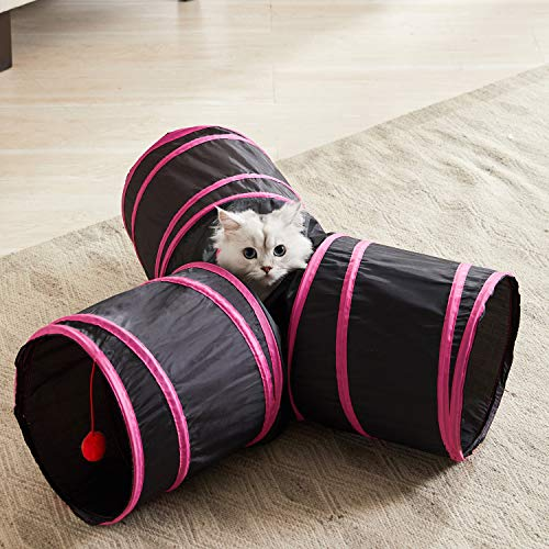 WESTERN HOME WH Cat Tunnels Tube Cat Toys, Cat Tunnel Bed Pop-up Collapsible Pet Tube Interactive Play Toy with Ball, Cat Tunnels for Indoor Cats,Great Toy for Cats & Rabbit