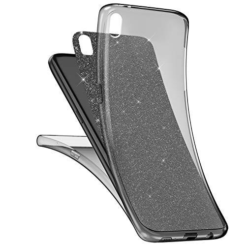 kompatibel mit Sony Xperia M4 Aqua Hülle,Sony Xperia M4 Aqua Full Body 360 Grad TPU Silikon Crystal Hülle,Glänzend Glitzer Transparent Vorne Hinten Komplett Schutzhülle TPU Bumper Hülle Etui Schwarz