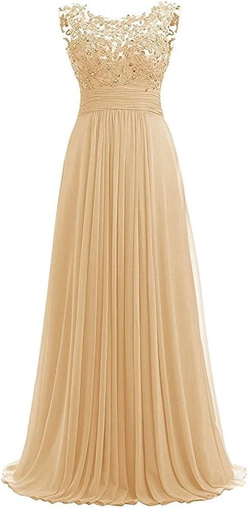 PROMLINK Women Long Beaded Chiffon Bridesmaid Dresses Prom Formal Dress