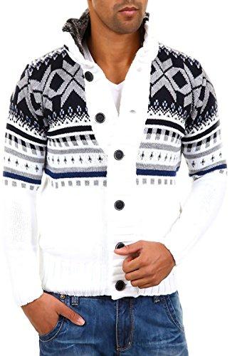 CARISMA Strickjacke Norweger Pullover 7011 [Weiss, XL]