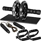 Bodylastics PP Abs Roller Wheel with Non-Slip Knee Pad, Pushup Stands & Adjustable Jump Rope Total...