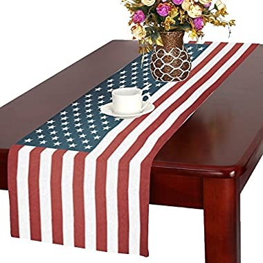 InterestPrint Memorial Day 4th of July Cotton Table Runner Placemat 16 x 72 Inch, Vintage American Flag Table Linen Cloth for Office Kitchen Dining Wedding Party Home Decor