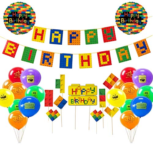 Lego Happy Birthday Party Decorations - Complete Set Of Building Block Theme Decoration Supplies With A Bright Color Banner, 20 Balloons, And 9 Cake Toppers