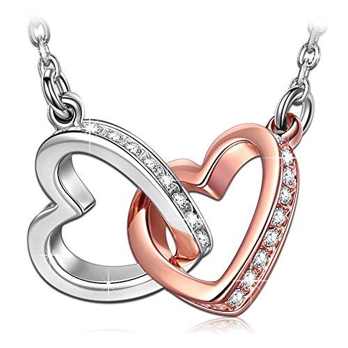 ANGEL NINA collana in argento per donna collana personalizzata collana di cristallo collane cuore collane oro rosa collana doppio cuore regalo per ragazza San Valentino