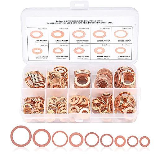 TOCYORIC 200 piezas de cobre M5 M6 M8 M10 M12 M14 Juego de arandelas de cobre con ajuste de caja para tornillos Pernos Sujetadores Arandela de cobre plana Juego de surtido de anillos de sellado plano