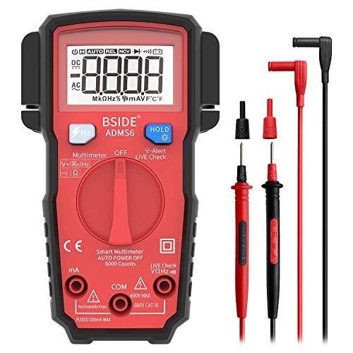 Bside ADMS6 Smart Digital Multimeter True RMS 6000 Counts, Auto-Ranging DMM Live Wire Check Hz V-Alert Elektriker Multi Meter Tester mit seitlichem Sondenhalter