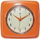 Infinity Instruments Square Silent Retro 9 inch Mid Century Modern Kitchen Diner Retro Wall Clock Quartz Sweep Movement (Orange)