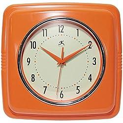 Infinity Instruments Square Silent Retro 9 inch Mid Century Modern Kitchen Diner Retro Wall Clock Quartz Sweep Movement (Orange) (13228OR-4103-AMZ)