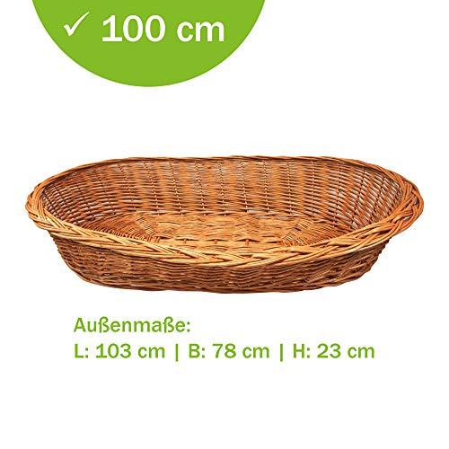 Aumüller Weidenkörbe für Hunde 100 cm sind bequem, äußerst robust und urgemütlich aus naturbraunen Vollweiden