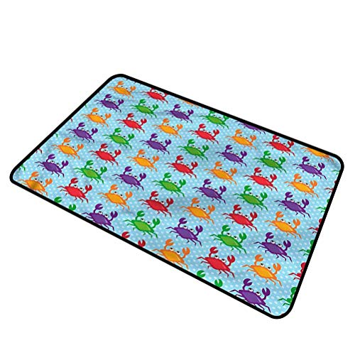 DESPKON-HOME Crabs, Pet Mat Crabs on Blue Backdrop Dog Pet Mat Rug for Patio, Front, Weather Exterior Doors 16x24 Inch