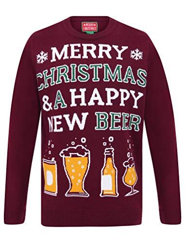 Tokyo Laundry - Maglione natalizio da uomo con scritta 'Merry Christmas' Happy New Beer Oxblood M