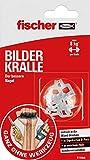 fischer BILDER KRALLE, Bilderhaken in Weiß, Montage ohne Bohren & Werkzeug, der bessere Nagel,...