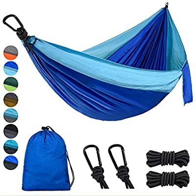 Lifeleads Outdoor Camping Hammock-Nylon Double Portable Parachute Lightweight for Outdoor or Indoor Backpacking Travel Hiking (Sky Blue & Navy Bule, Double)
