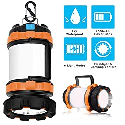 POLENTAT Rechargeable LED Camping Lantern Flashlight with 6 Lighting...