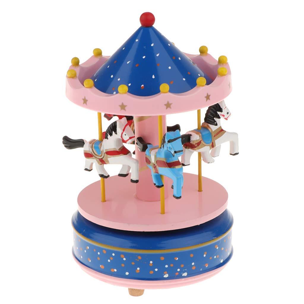 B Blesiya Caja de Música de Cuerda, 3 Caballos Girar con Música Regalo de Cumpleaño para Niñas Adorno Hogar - Azul Rosado: Amazon.es: Hogar