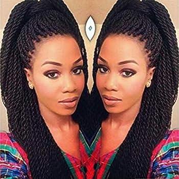 Geyashi Hair 22 Inch 6 Packs/Lot 1B Black Color 30 Strands/Pack 2S Senegalese Twist Crochet Hair Braids High Temperature Fiber Braiding Hair Extensions 1B Black Color