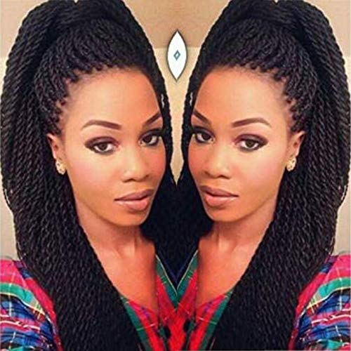Geyashi Hair 18 Inch 6 Packs/Lot 1B Black Color 30 Strands /Pack 2S Senegalese Twist Box Braids Crochet Hair Extensions Soft Light Weight Synthetic Crochet Braids (1B Black Color)
