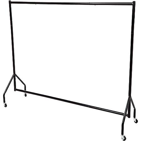 LEOPAX Freestanding Clothes Rail, Heavy Duty Garment Rack, Multi-Functional Storage Rack, Single Pole Indoor & Bedroom Clothing Rack Rail with Wheel - 6 ft (Black)