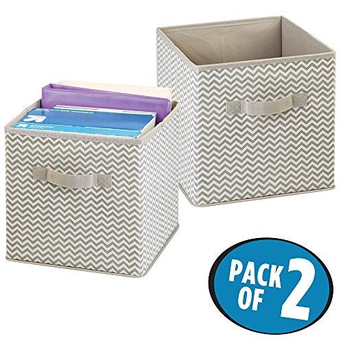 mDesign - Opbergbox - kantoororganizer - voor enveloppen, mappen, papier, schriften - vierkant/chevron/verpakt per 2 stuks - Taupe/natuurlijk - per 2 stuks verpakt