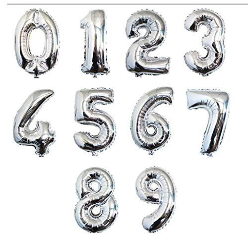Pack 10 Globo Número 0-9 Multicolor Decoración de Boda Aniversario Cumpleaños Suministros de Fiesta Happy Birthday para Adultos y Niños Apto para Helio (Platero, 45cm)