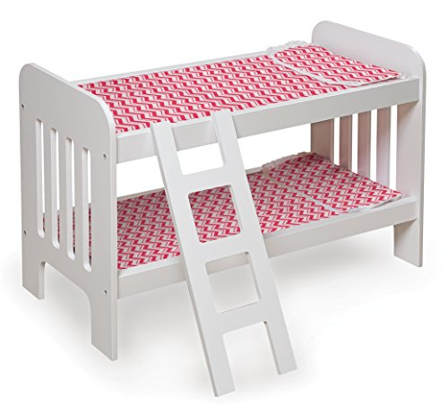 Badger Basket 18595 Chevron Doll Bunk Bed with Bedding and Ladder - fits American Girl Dolls, White/Chevron