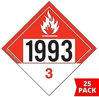 1993 Placard, Class 3 Combustible Liquid 25-pk. - 10.75