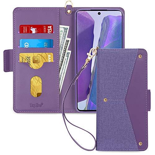 Toplive Samsung Galaxy Note 20 5G Hülle, Galaxy Note 20 Handyhülle Tasche Brieftasche Flip Schutzhülle mit [Ständer] & [Kartenhalter] für Samsung Note 20 Handytasche Hülle (2020)-Lila