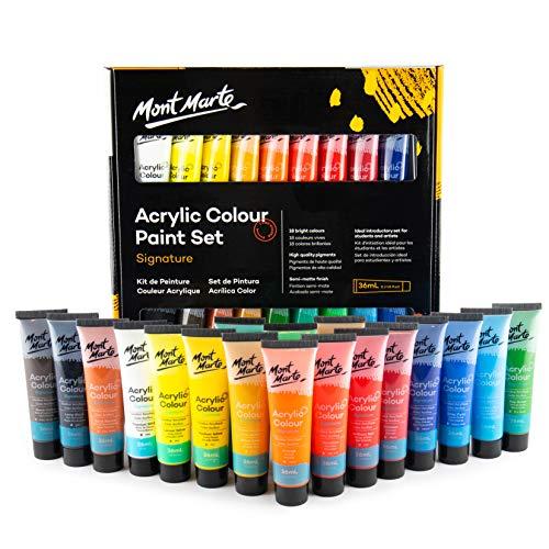 MONT MARTE Juego de Pintura Acrílica Premium - 18 piezas (Tubos 36ml) - Ideal para Pintura Acrílica - Colores Brillantes y Luminosos con gran opacidad - Perfecto para Principiantes y Profesionales