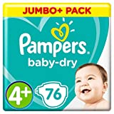Pampers Baby-Dry Taille 4+, 10-15 kg, 76 chacune.
