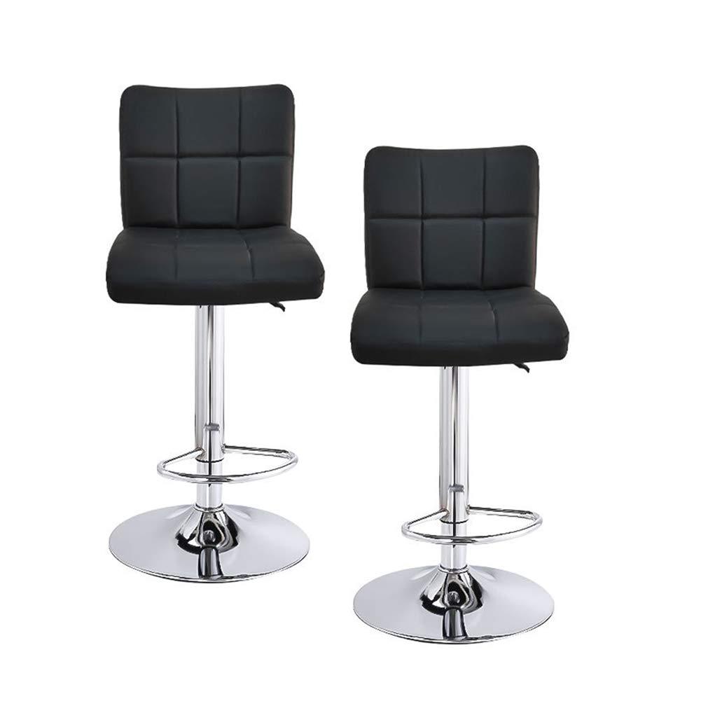 with Backrest /& Footrest//Back Foot Rest Gray SK Depot/™ High Back Swivel Adjustable Black PU Leather Bar Stool Pub Chair Set of 2
