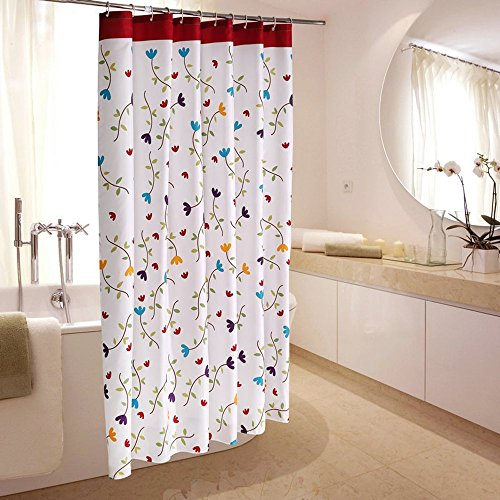 Duschvorhang Anti-Schimmel, Blumen Muster Wasserdicht Polyester Duschvorhang mit verstärktem Saum, mit Haken 120/150/180/200/220/240 x 200cm Weiß