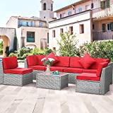 LUCKWIND Patio Conversation Sectional Sofa Chair Table - 7 Piece All-Weather Wicker Rattan Seating Cushion Patio Modern Glass Coffee Table Outdoor Accent Pillow (Grey RED)