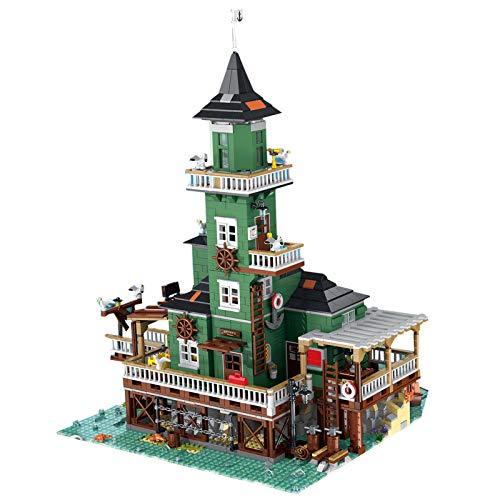 PEXL Bausteine Leuchtturm Modell Kompatibel mit Lego Alter Angelladen 21310, 3452 Klemmbausteine Modellbausatz