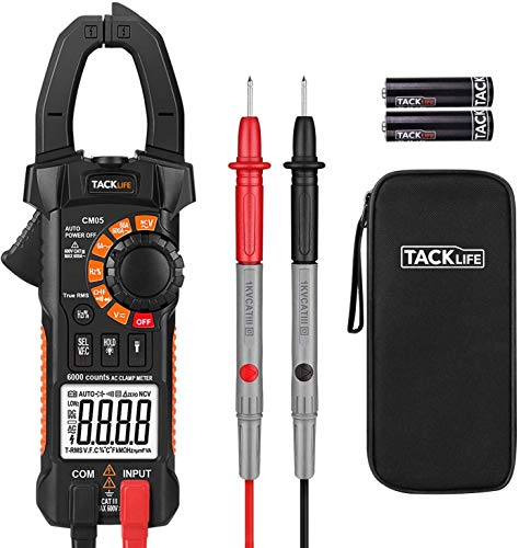 Clamp Meter Clamp Multimeter, 6000 Counts,AC/DC Voltage Tester, AC Current Detector, AC Signal Frequency, VFC, NCV, Resistor, Capacitor, Diode, Duty Cycle, Continuity Tester CM05