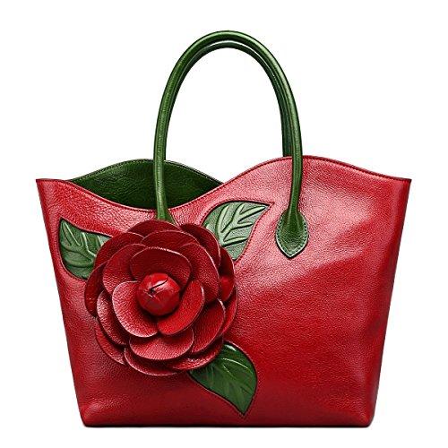 Jsix Borsa in Vera Pelle Borse Donna Designer Fiore Cartella Borsa a Tracolla (rosso)