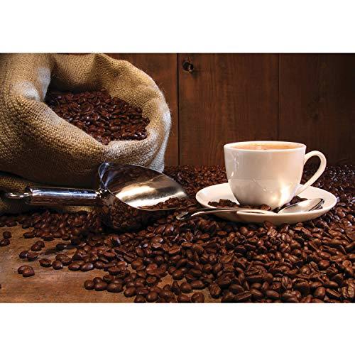 Vlies Fototapete PREMIUM PLUS Wand Foto Tapete Wand Bild Vliestapete - Kaffeetasse Kaffeebohnen Sack Tasse Löffel Bohne Schaufel Holzwand - no. 866, Größe:350x245cm Vlies