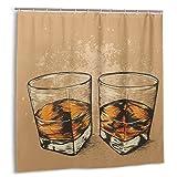 Bestpillow Set de Cortinas de baño para decoración de baño,Whisky en Dos Vasos,Estilo Dibujado a Mano,Diseño de Bebidas alcohólicas,Cortinas de baño de Tela con Ganchos 150cmx180cm