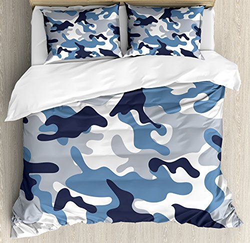 Ambesonne Camouflage Duvet Cover Set Queen Size, Illustration with Abstract Soft Colors Pattern Camouflage Design, Decorative 3 Piece Bedding Set with 2 Pillow Shams, Slate Blue Indigo Grey