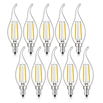 CRLight 2W Dimmable LED Candelabra Bulb 2700K Warm White 250LM 25W Incandescent Equivalent E12 Chandelier Base Candle Bulbs C35 Clear Glass Flame Shape Bent Tip 360 Degrees Beam Angle 10 Pack