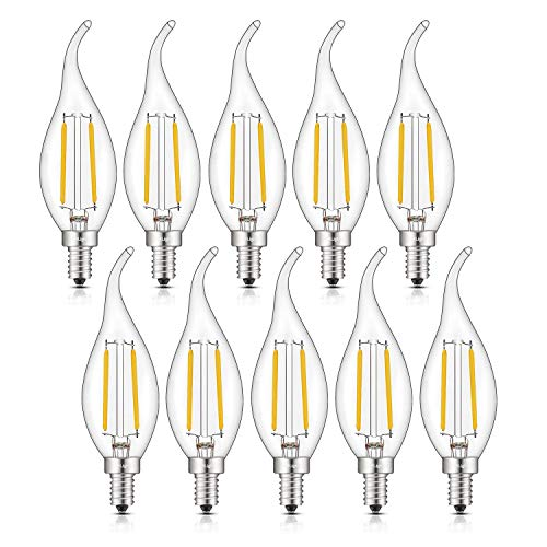 CRLight 2W Dimmable 25W Equivalent LED Candelabra Bulb 2700K Warm White 250LM, E12 Chandelier Base LED Candle Bulbs, C35 Clear Glass Flame Shape Bent Tip, 360 Degrees Beam Angle, 10 Pack