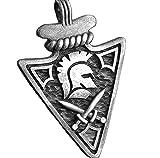 VAWAA Colgante de Casco Espartano, Collar de Flecha, Colgante de Lanza, Collar de Hombre, Hip Hop, Acero de Titanio, Retro