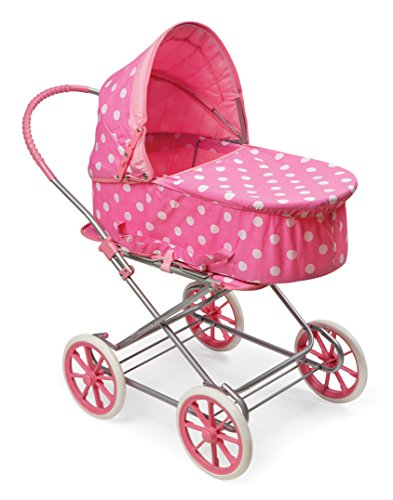 Badger Basket 3-in-1 Doll Pram, Carrier, and Stroller (fits American Girl Dolls), Pink/Dots