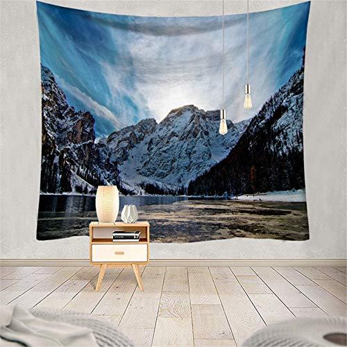 Byffde Tapisserie Wandteppich Natürliche Bergsee-Schneelandschaft Tapestry Mandala Tapisserie Hippies Wandbehang Art Dekoration Wandtuch für Schlafzimmer Wohnzimmer Strandtuch Laken G4203-200X150cm