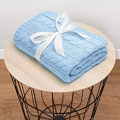 Mikos * Manta para bebé | Manta de punto | Ideal como manta de primeros pasos | Manta para cochecito | Manta para bebé con patrón trenzado Öko-Tex | 100 x 90 cm (1003) (azul oscuro)