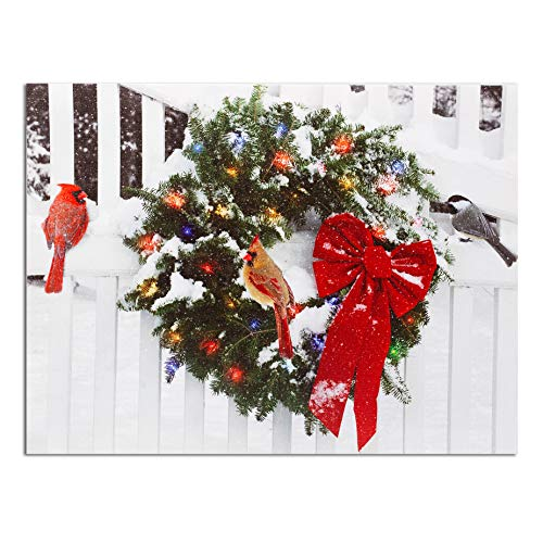 LED Wreath Winter Scene Wall Art with Cardinals - Light Up Stretched Canvas with a Christmas Wreath and Cardinal Scene