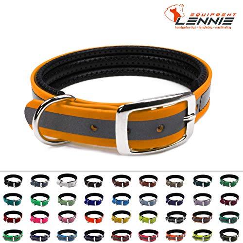 LENNIE BioThane Halsband, gepolstert, Dornschnalle, 19 mm breit, Größe 26-32 cm, Pastellorange-Reflex, Aufdruck möglich